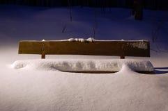 Bank bedeckt im Schnee Stockfotografie