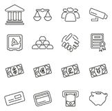 Bank of Besparings de Geldpictogrammen verdunnen Reeks van de Lijn de Vectorillustratie Royalty-vrije Stock Afbeelding