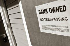 Bank Bezeten Teken op Huis in Verhindering Royalty-vrije Stock Afbeelding