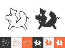 Pig bank broken simple black line vector icon. Bank black linear and silhouette icons. Thin line sign of broken piggy. Break Piggybank outline pictogram isolated royalty free illustration