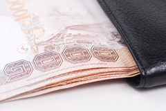 Bank in black wallet. Bank in black leather wallet Royalty Free Stock Photography