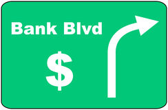 Bank Blvd Sign. Illustration of a Bank Blvd sign with an arrow and a dollar symbol Royalty Free Stock Photos