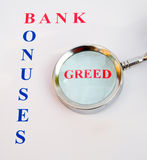 Bank bonuses: strong public feelings. Stock Photos