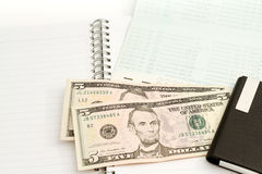 Bank book with dollar. Royalty Free Stock Images
