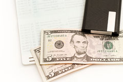 Bank book with dollar. Royalty Free Stock Photo