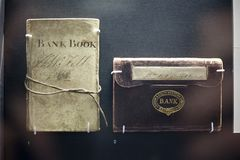 Bank Book London And South Western Limited in British Museum, London, England, United Kingdom December 2017. Bank Book London And South Western Limited British Royalty Free Stock Photo