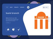 Bank branch Landing page website template design. Quality One Page bank branch Website Template Vector Eps, Modern Web Design with flat UI elements and landscape Royalty Free Stock Photos
