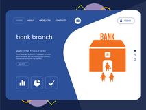 Bank branch Landing page website template design. Quality One Page bank branch Website Template Vector Eps, Modern Web Design with flat UI elements and landscape Royalty Free Stock Image