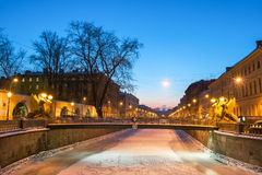 Bank bridge across Griboyedov Canal in winter, St Petersburg, Russia Stock Image