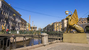Bank Bridge at Griboyedov Canal in St. Petersburg Royalty Free Stock Photography
