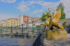 Bank Bridge in Saint Petersburg, Russia. HDR Royalty Free Stock Photography