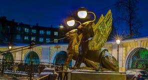 Bank bridge, St. Petersburg, Russia Stock Images