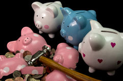 bank broken piggy Fotografering för Bildbyråer