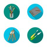 Bank with brushes, a drawing board, an easel with a canvas, paint knives.Artist and drawing set collection icons in flat Royalty Free Stock Photos