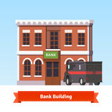 Bank building with armoured truck at the front. Flat style illustration. EPS 10 vector Royalty Free Stock Photo