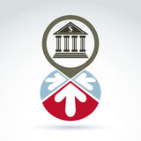 Bank building with arrows vector icon, business symbol. Bank building with arrows vector icon, conceptual symbol, business and finance banking theme Stock Images