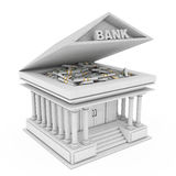 Bank Building with Banknotes under Opened Roof. 3d Rendering. Bank Building with Banknotes under Opened Roof on a white background. 3d Rendering Royalty Free Stock Photography