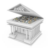 Bank Building with Banknotes under Opened Roof. 3d Rendering. Bank Building with Banknotes under Opened Roof on a white background. 3d Rendering Stock Images