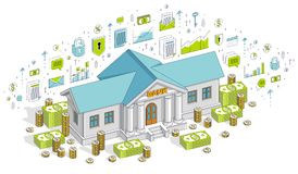 Bank building with cash money dollar pile and coin stack cartoon. Isolated over white background. Vector 3d isometric business illustration with icons, stats Royalty Free Stock Photos