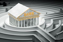 Bank building at center of dark maze, 3D rendering. Bank building at center of dark maze, 3D Royalty Free Stock Images