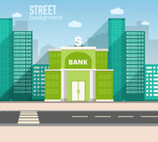 Bank building in city space with road on flat Stock Photos