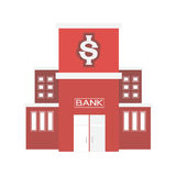 Bank building in city space with road flat syle background Royalty Free Stock Photo