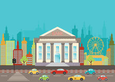 Bank building in city street on the urban landscape. Flat style Vector illustration Stock Image