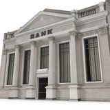 Bank building with columns on white. 3D illustration. Bank building with columns on white background. 3D illustration Stock Image
