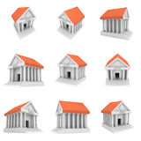 Bank building 3d icon Stock Photos