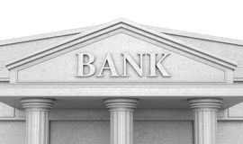 Bank building. Isolated on white. Bank building. 3d illustration isolated Royalty Free Stock Photo