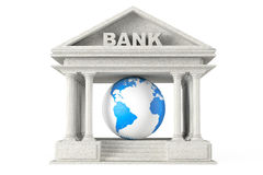 Bank Building with Earth Globe Stock Photo