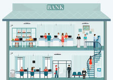 Bank building exterior and interior with counter service. Royalty Free Stock Photography