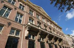 Bank building Facade. Facade of a stately bank building in The Hague Royalty Free Stock Photos