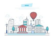 Bank building facade. City municipal office building bank. Urban landscape. Bank concept. City bank building facade. Financial activity, customer service, work Royalty Free Stock Images