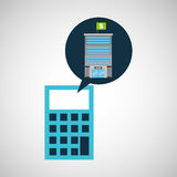 Bank building finance calculator. Vector illustration eps 10 Royalty Free Stock Photo