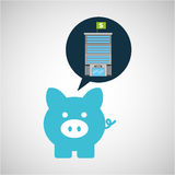 Bank building finance piggy icon graphic Royalty Free Stock Image