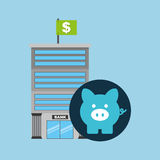 Bank building finance piggy icon graphic. Vector illustration eps 10 Royalty Free Stock Image