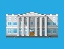 Bank building. Financial house isolated on blue. Construction with columns in ancient design. Vector illustration in flat style Royalty Free Stock Images
