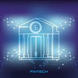 Bank building financial technology icon. Vector illustration design Royalty Free Stock Photos
