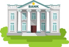 Bank building in flat style. Detailed illustration of bank building on white background Stock Photos