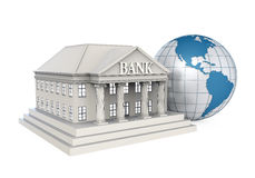 Bank Building and Globe. Isolated on white background. 3D render Royalty Free Stock Photography
