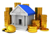 Bank building with gold coins. 3D render icon isolated on white. Finance and credit concept Stock Photos
