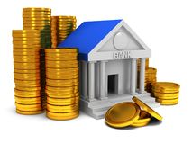 Bank building with gold coins. 3D render icon isolated on white. Finance and credit concept Stock Image