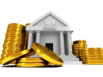 Bank building with gold coins Stock Image