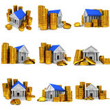 Bank building with gold coins. 3D render icon isolated on white. Finance and credit concept set Royalty Free Stock Photo