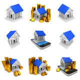 Bank building with gold coins Stock Photo