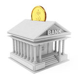 Bank Building with Golden Coin as Moneybox. 3d Rendering. Bank Building with Golden Coin as Moneybox on a white background. 3d Rendering Royalty Free Stock Photo