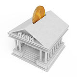 Bank Building with Golden Coin as Moneybox. 3d Rendering Royalty Free Stock Images