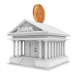 Bank Building with Golden Coin as Moneybox. 3d Rendering Royalty Free Stock Photo