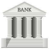 Bank Building Icon. In a classic greek temple style, isolated on white background. Eps file available Royalty Free Stock Photography